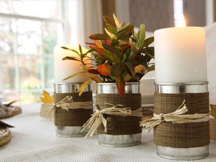 Burlap tin can candle holders