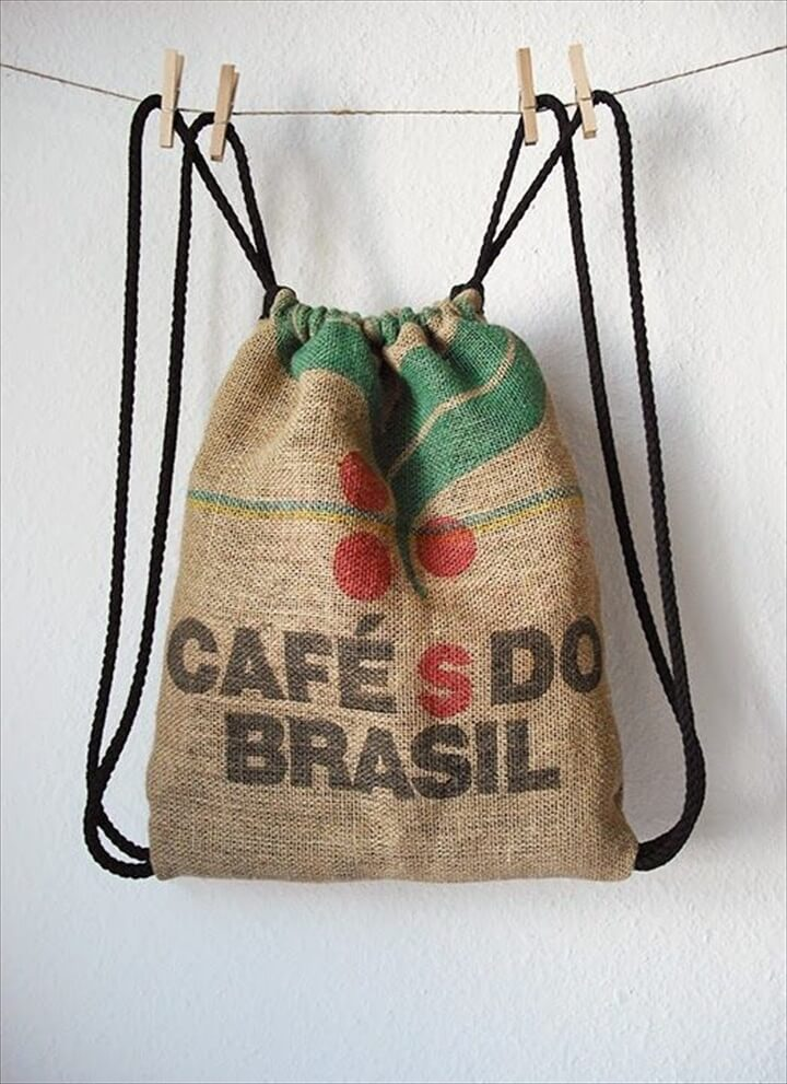 drawstring backpack made out off burlap coffee bag