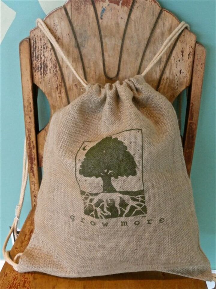 Amazing Burlap drawstring backpack
