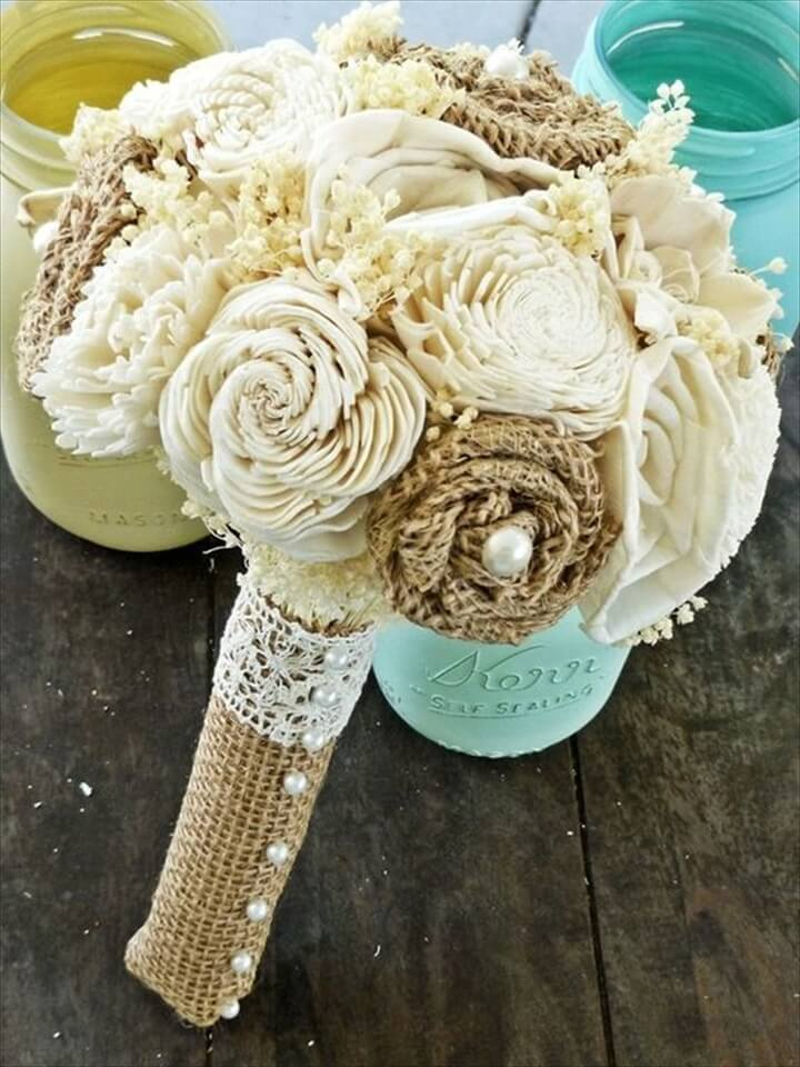 Custom Wedding Bouquet, burlap flowers