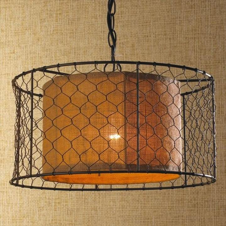 Chicken Wire with Burlap Drum Pendant Shades of light