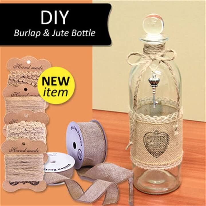 DIY Burlap and Jute Vintage Bottle