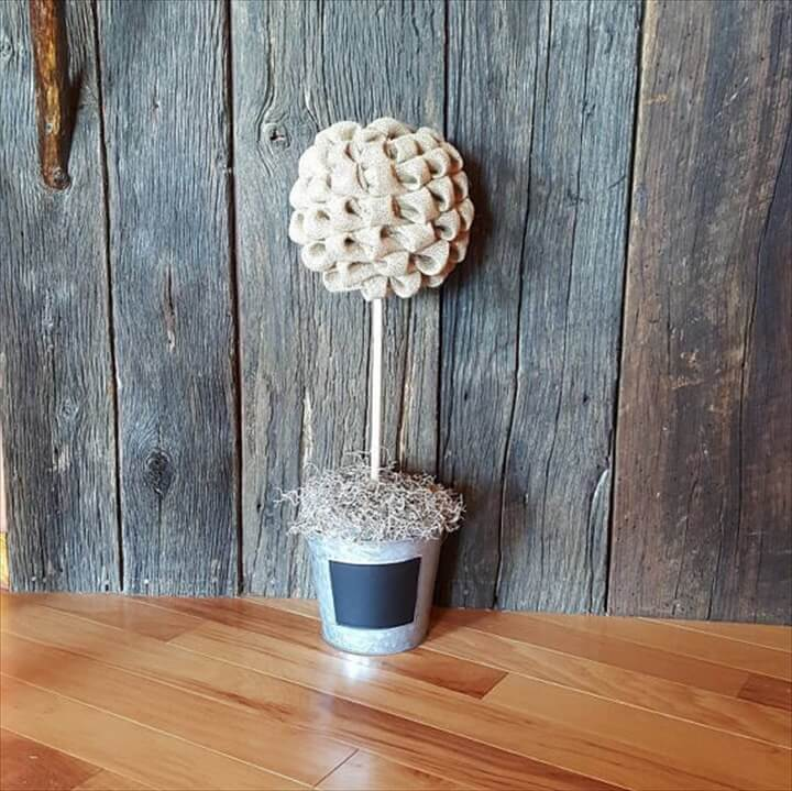 burlap tree of flower vase