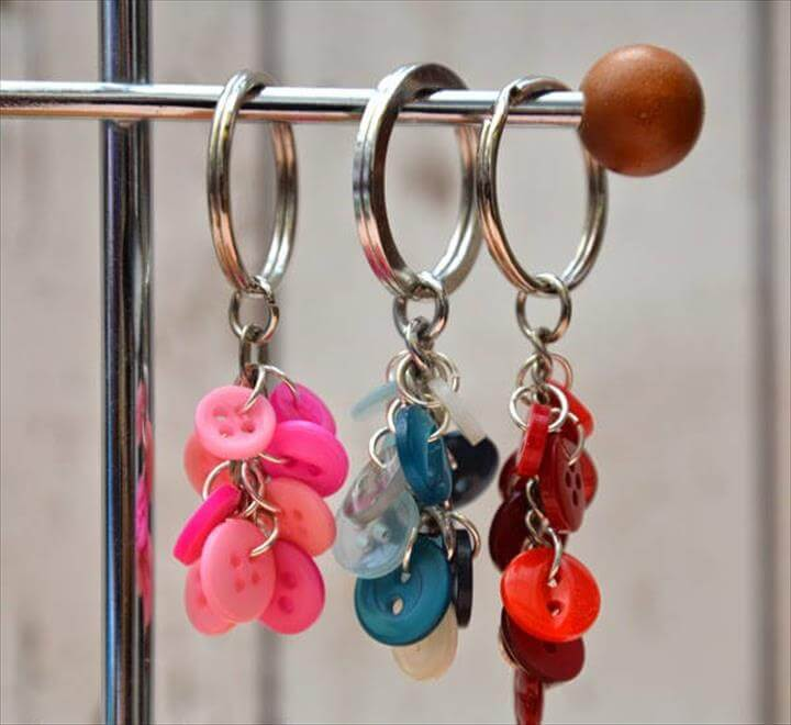 Button Cluster Key Ring
