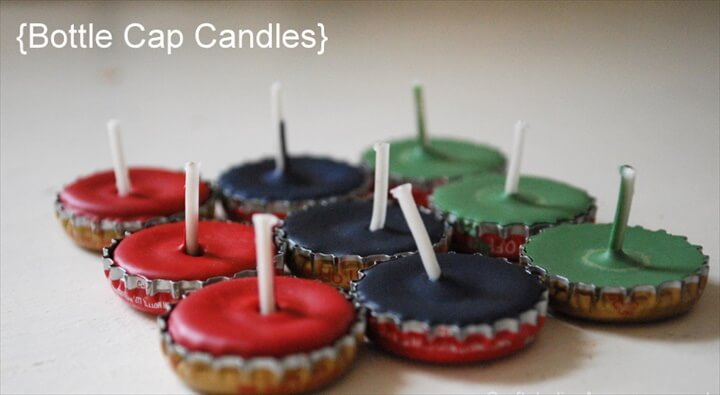 Recycle candles,small candles with the help of bottle caps and place it for the decoration of your home.