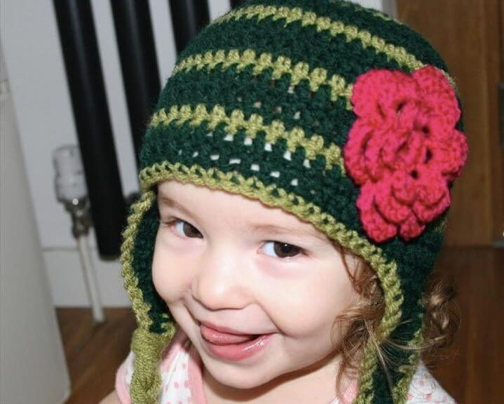 Easy baby kids earflap hat with flower