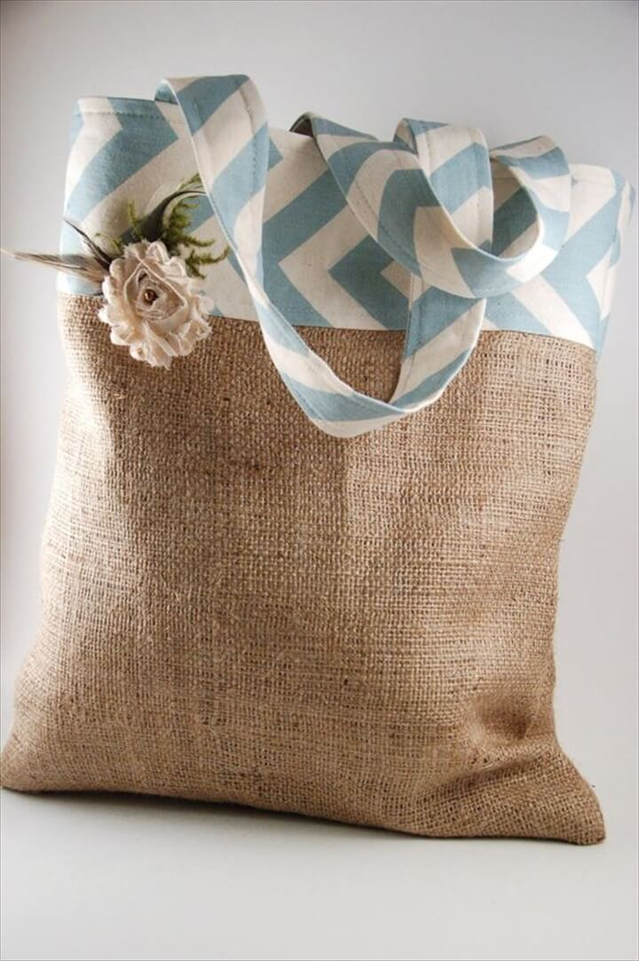 Chevron and burlap bag...love this but maybe change out the burlap because it sheds
