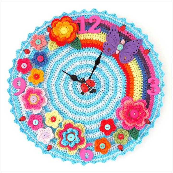Multi Designing and Colorful Crochet Wall Clock Designs