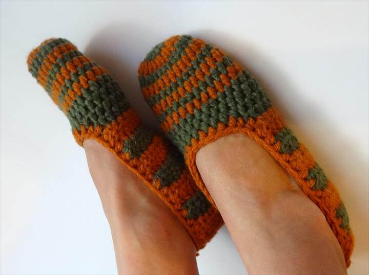 Crochet Slippers for Women Copper green stripes