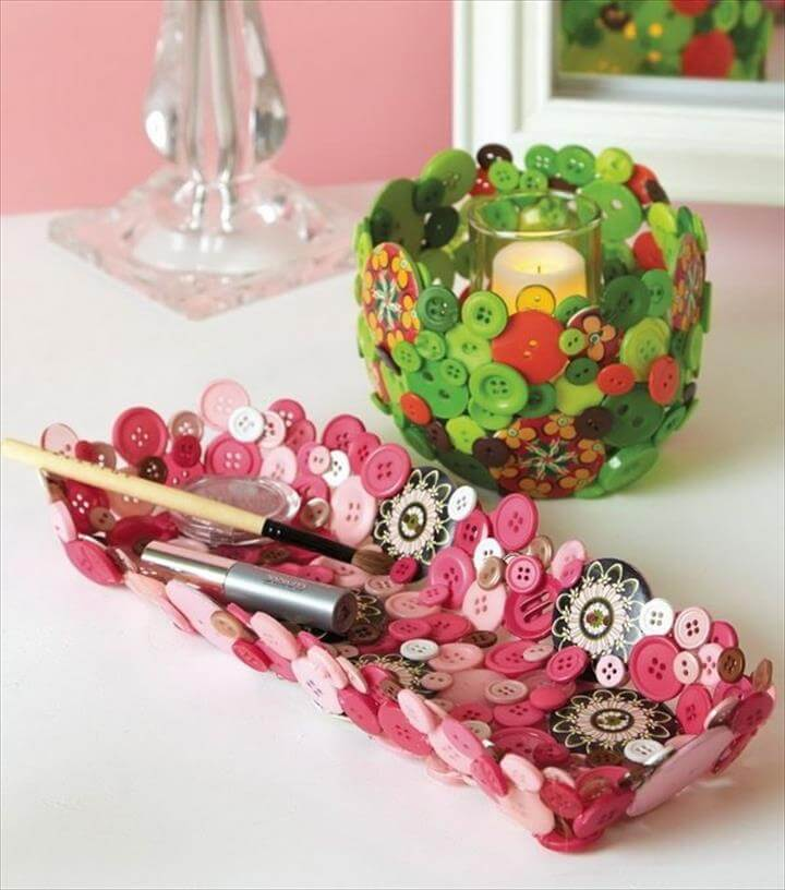 Home Decor Button Bowl and Tray