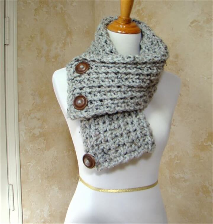 Crochet Scarf Pattern With Button : 27 Quick & Easy Crochet Scarf DIY to Make