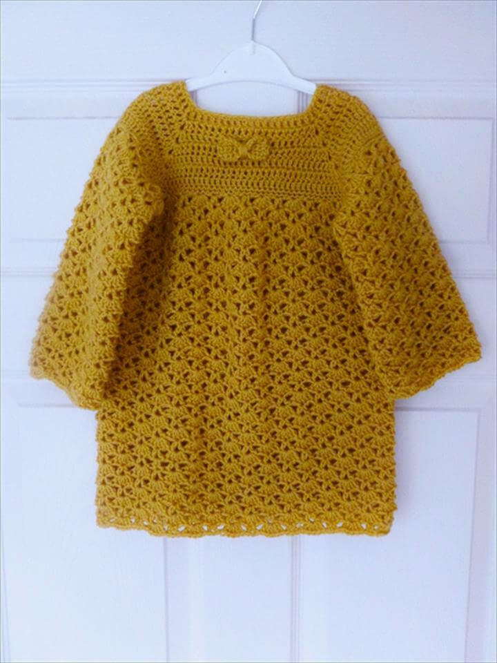 nice color crochet baby dress
