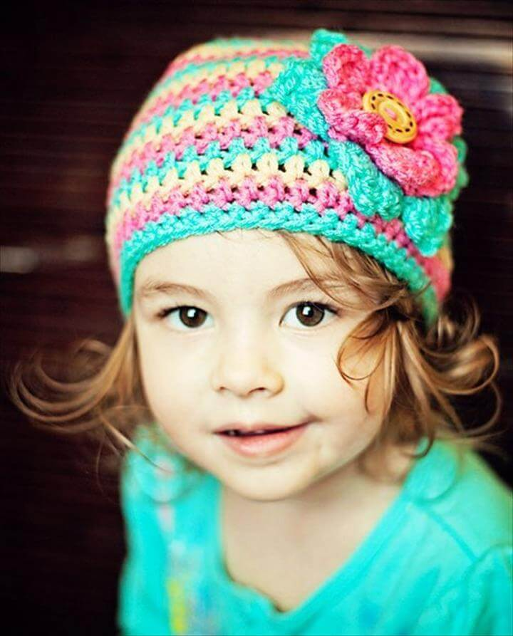 Kids Hat, Little Girls Crochet Hat with Flower