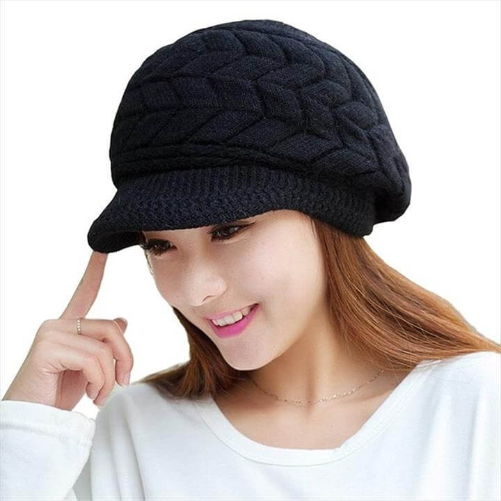 LOCOMO Women Girl Slouchy Cut Openings Fluffy Knit Beanie Crochet Rib Hat Brim Cap Winter Warm