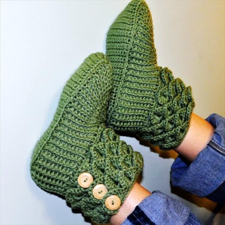 Crochet Crocodile Stitch Boots
