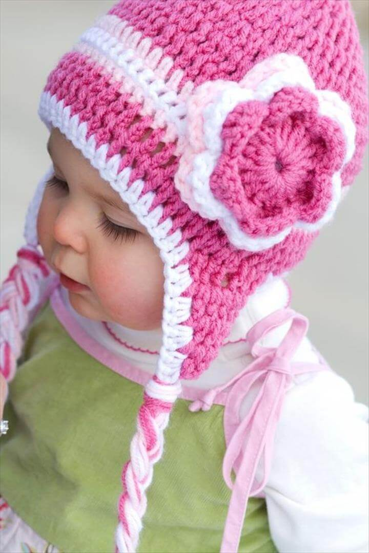 cute hat and flower, Triple Flower Pink Crochet Hat