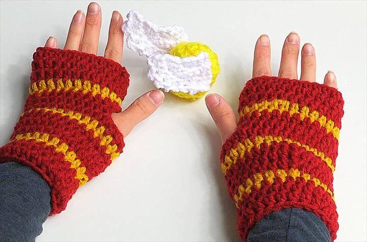 Crochet Fingerless Gloves Harry Potter style