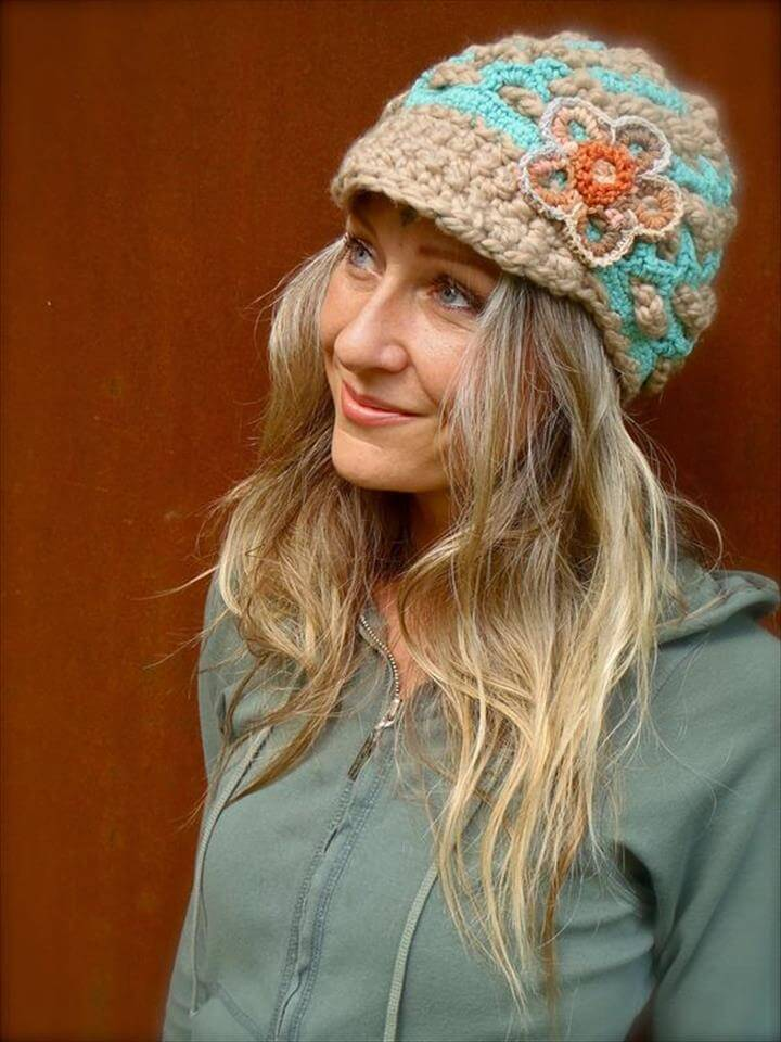 crochet amazing flower hat