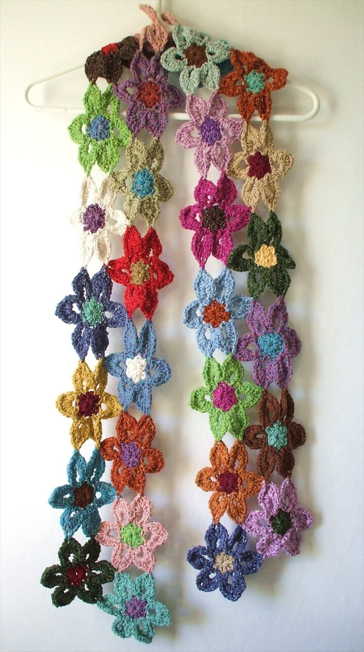 Crochet Flower Scarves
