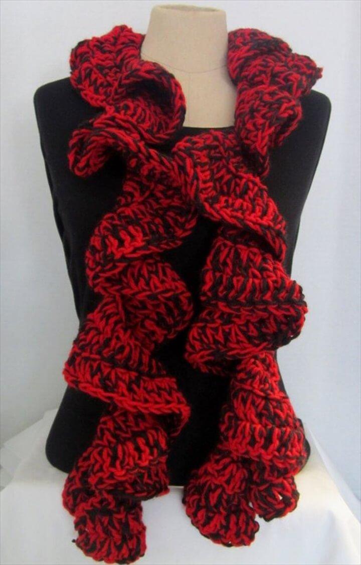 Georgia Bulldog Ruffle Scarf Crochet Ruffle Scarf
