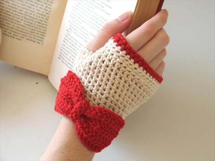 white and red crochet gloves