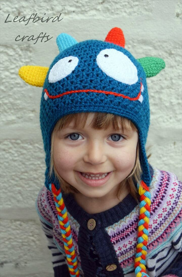 Handmade Crochet Monster hat, Girls hat, Boys hat, Kids hat, Character hat