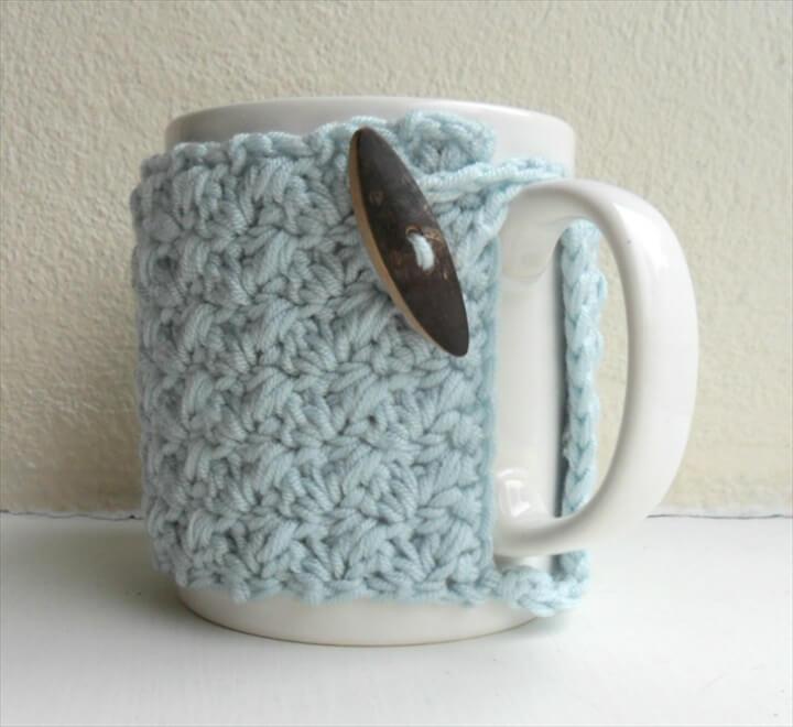 Crochet Mug Cozy Cup Cozy Egg Shell Blue Yarn Wooden Toggle on Luulla