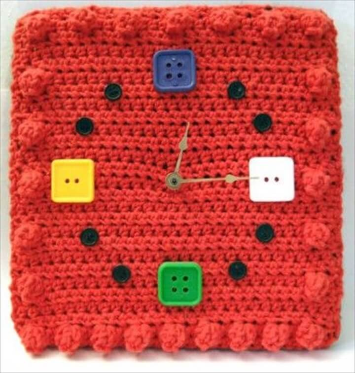 Square crocheted wall clock with multi button designing idea