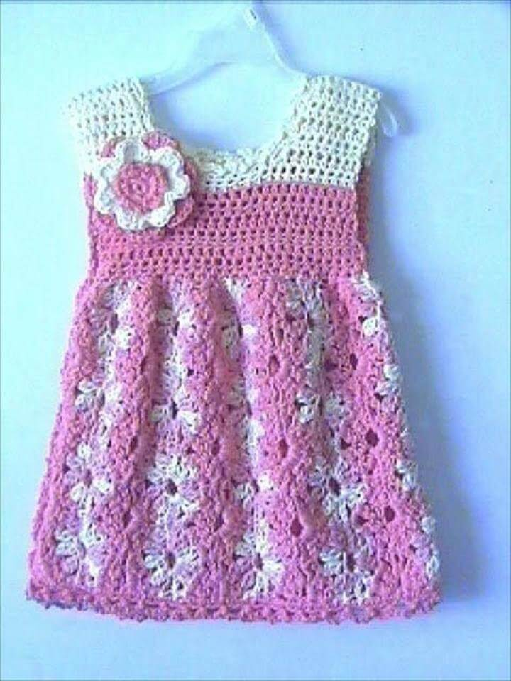 two colors baby crochet dress