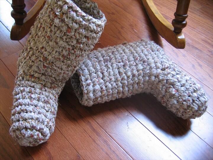 Rag Crochet Adult Boot Slipper Pattern