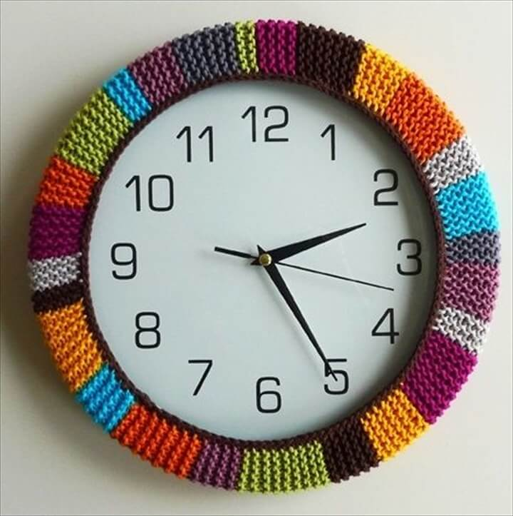 Multi colored crochet framing wall clock deign