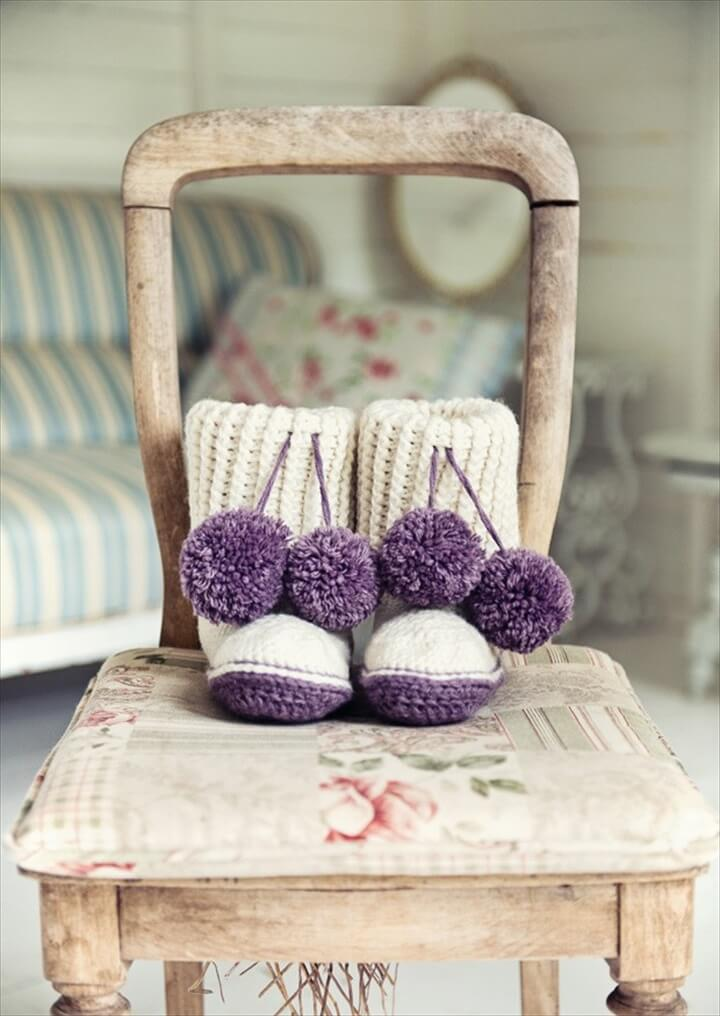 Crochet Slipper Boots in Deramores Vintage Chunky