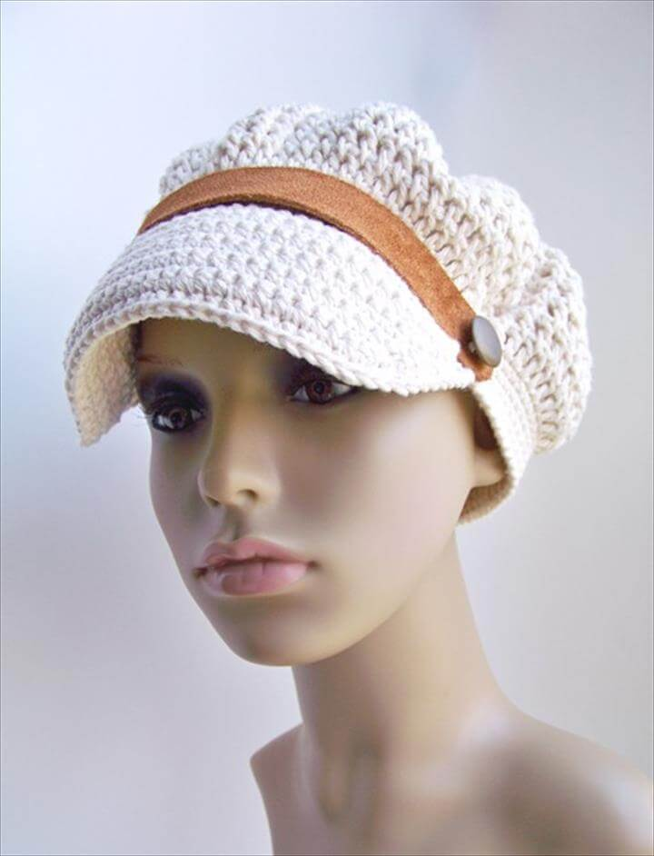 Crochet Newsboy Hat, Summer Sailor Sun Hat, Cotton Cap, White Ecru .