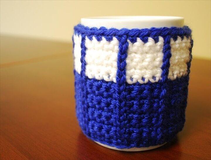 Crochet Tardis Mug Cozy