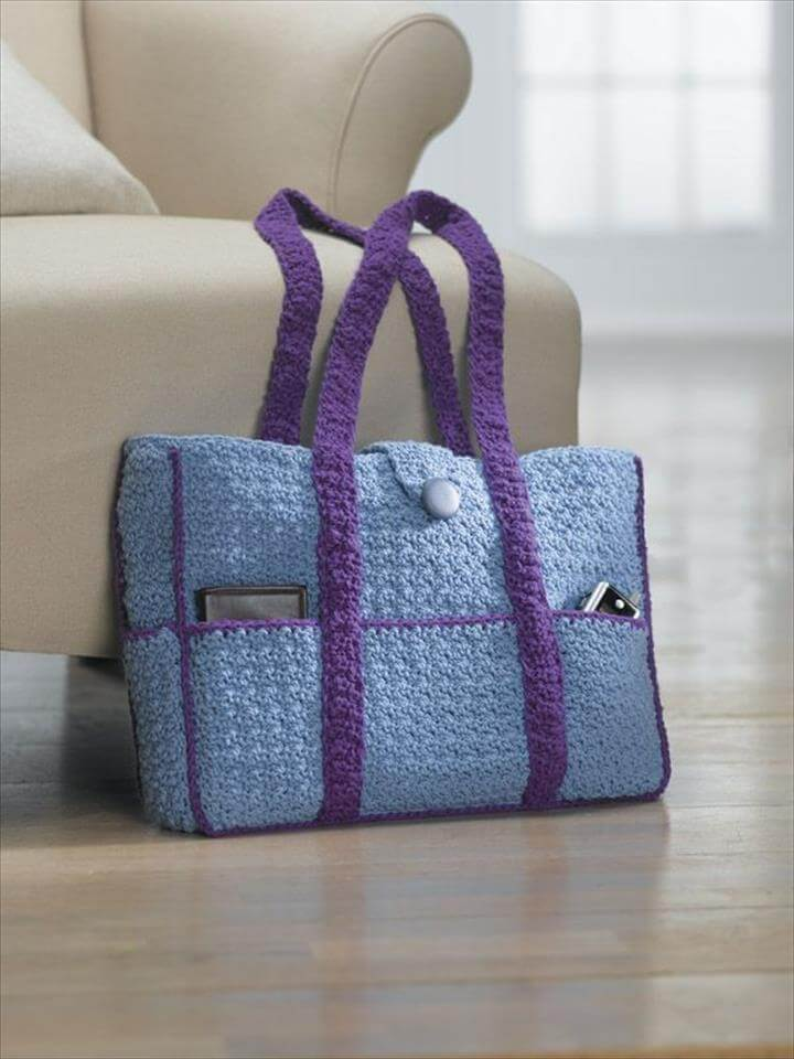 Crochet Bag With Pockets Pattern : 50 DIY Crochet Purse, Tote & Bag Patterns DIY to Make