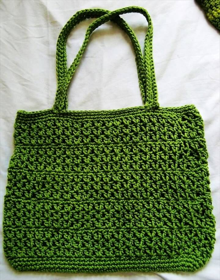 Summer Green Fresh Cotton Fashion Crochet Tote Market Bag Purse