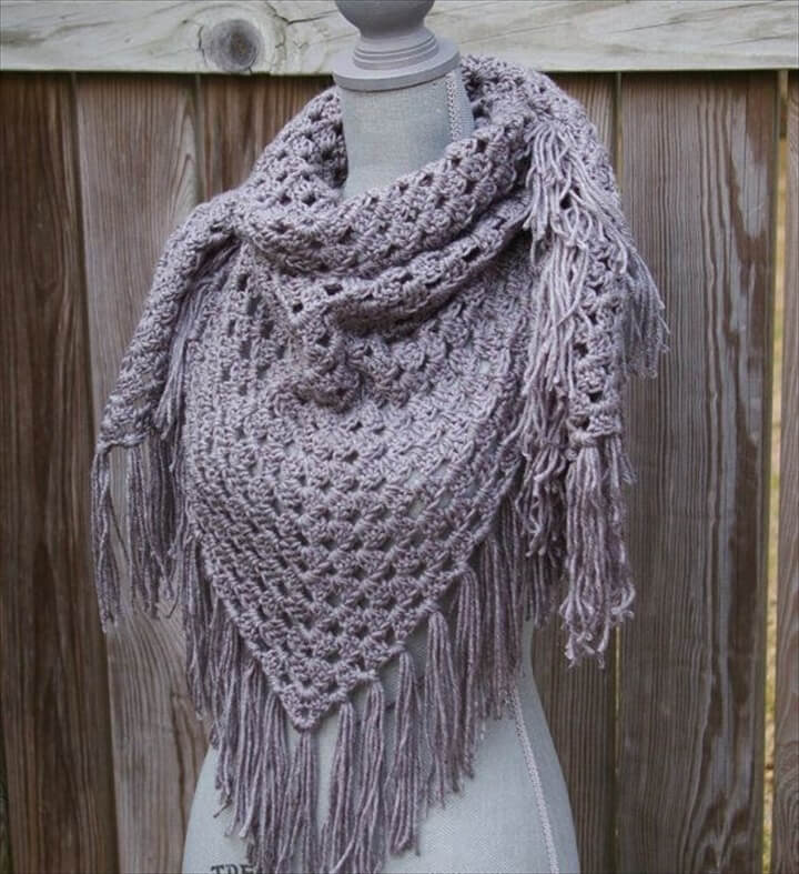 Grey Shawl Triangle Scarf Hand Crocheted