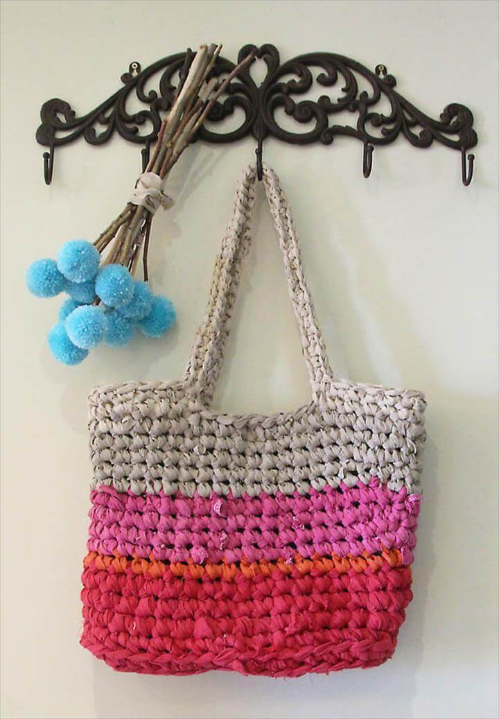 Crocheted Rag Bag From Sheets