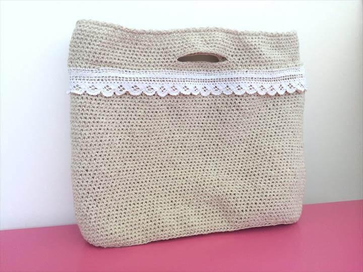 Crochet Purse Tote Bag Purse with Lace Linen Beige