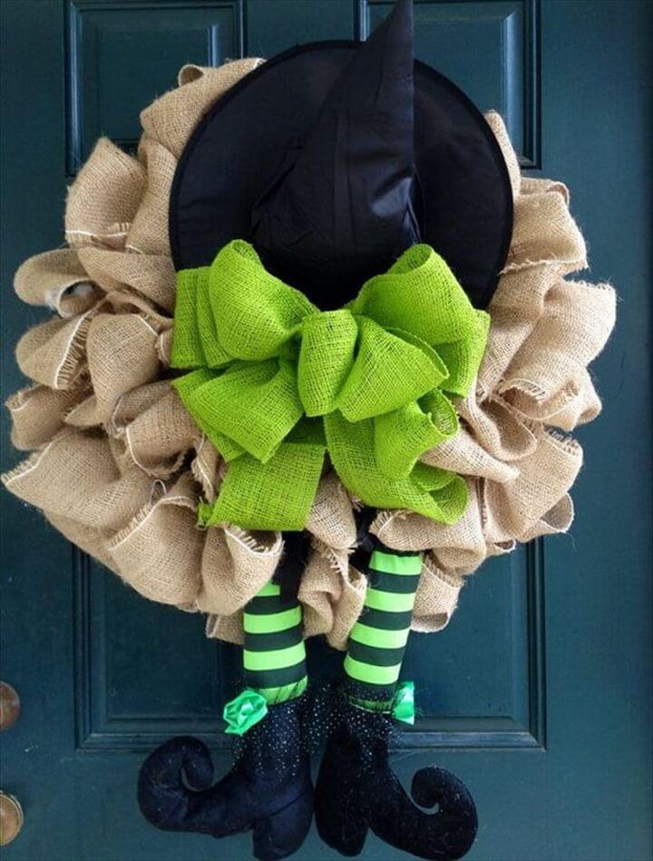 Handmade Burlap Witch Wreath .