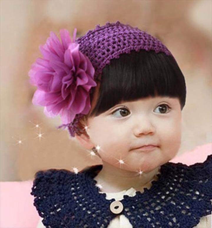 crochet flower headband