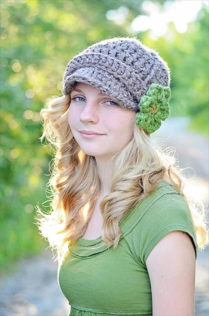 free brimmed beanie hat pattern