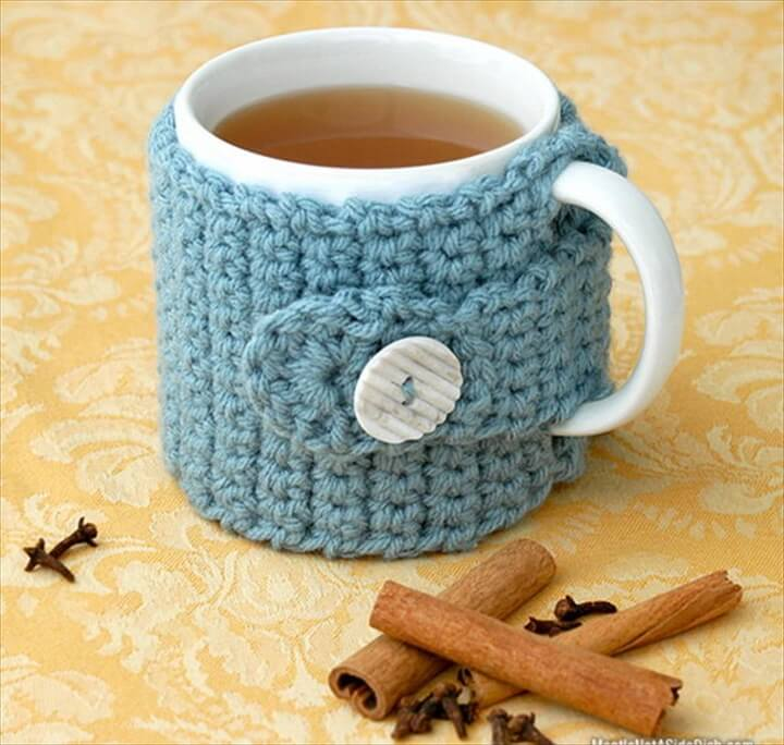 ... Diy Crochet Coffee Cozy Which Keep Coffee In Cups Warm While Protecting  Fingers From The Heat ...