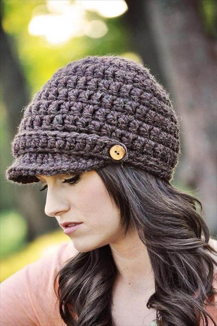 893f490b951 26 DIY Crochet Brimmed Beanie Hats