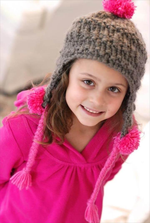Grey Crochet Baby Hat with Pink Pom-pom Straps