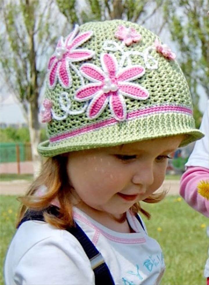 Diy Pretty Crochet Girls Swirl Sun Hat