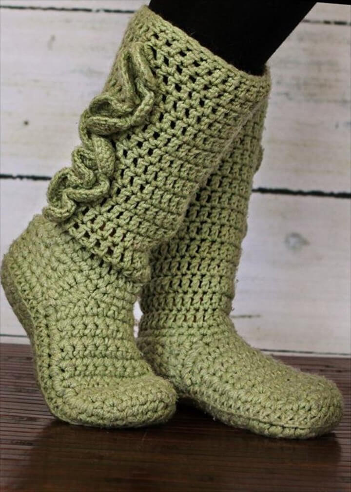Green Colored Crochet Boot Patterns: