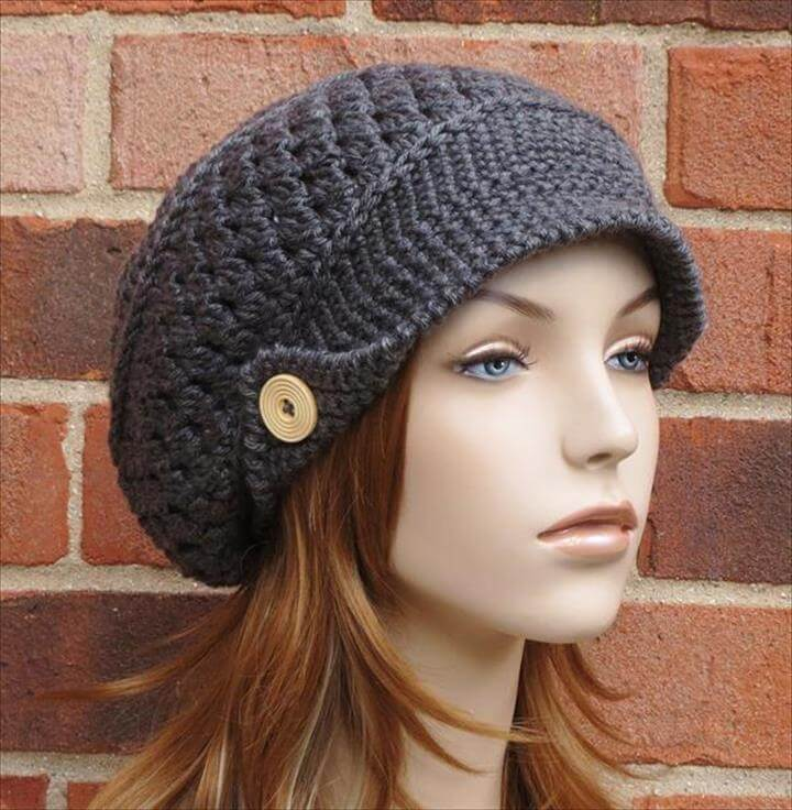 Black Crochet Hat With Wooden Button