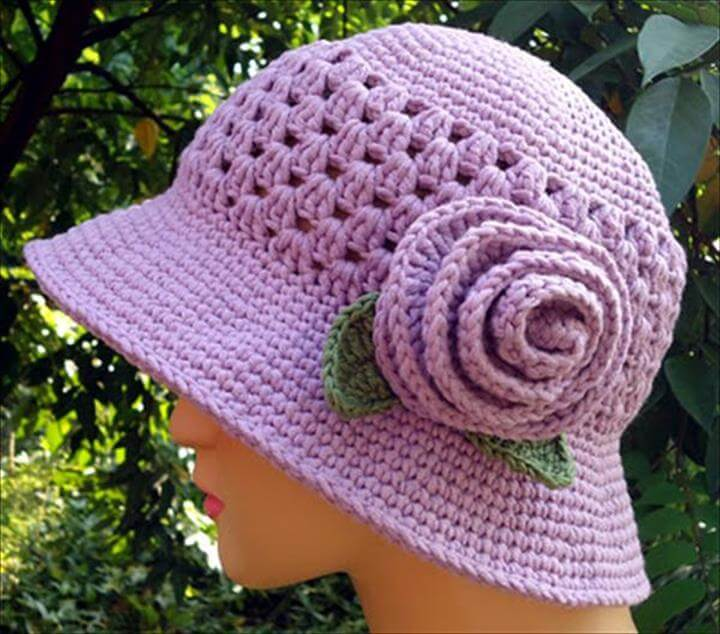DIY Crochet Purple Hat With Flower