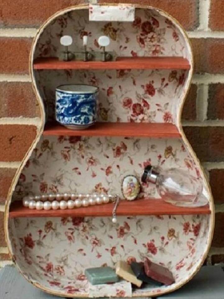 This guitar shelf has a vintage vibe.
